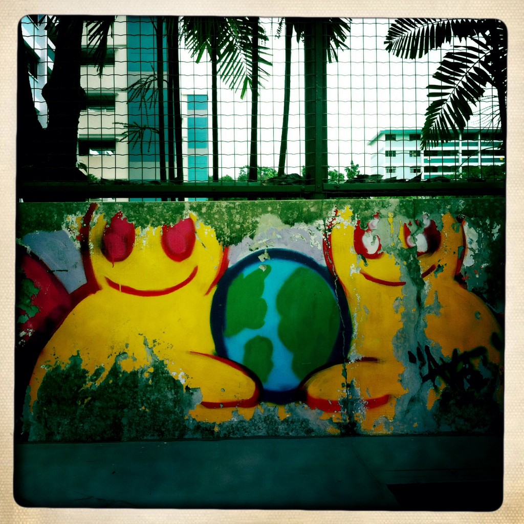 Singapore graffiti - one world
